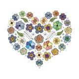 Flores 1 do coração ilustração royalty free