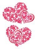 Flores 2 do coração Imagens de Stock