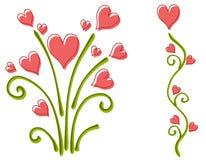 Flores do coração do dia do Valentim cor-de-rosa Imagens de Stock Royalty Free