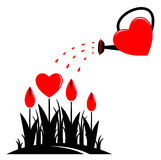 Flores do coração e lata molhando Imagem de Stock