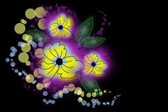 Flores do desenho em um fundo preto Imagens de Stock