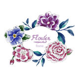 Flores do fundo da tração da mão do fundo do quadro da flor Imagens de Stock