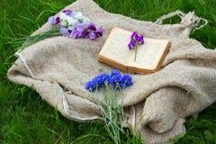flores do jardim e um livro fotos de stock royalty free