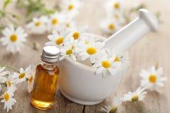 Flores do petróleo essencial e da camomila no almofariz Imagens de Stock Royalty Free