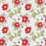 Flores do prado do ramalhete da aquarela Teste padrão sem emenda em um fundo leitoso ilustração royalty free
