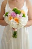 Flores do vestido de casamento foto de stock