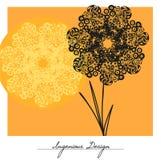 Flores do vetor sobre o fundo amarelo Fotos de Stock