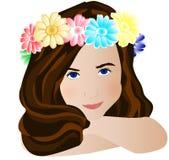 Flores do whith da menina Ilustração Stock