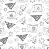 Flores dos guardanapo dos copos de chá e tea party do Neve-jardim Teste padrão sem emenda da repetição Imagem de Stock Royalty Free