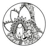 Flores drenadas mano doodling Zentangle libre illustration