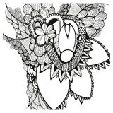Flores drenadas mano doodling Zentangle stock de ilustración