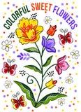 Flores dulces coloridas Diseño hermoso de la tipografía del vector para las camisetas Imagenes de archivo