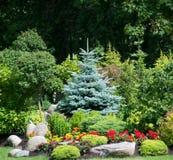 Flores e árvore de Natal no jardim fotos de stock royalty free