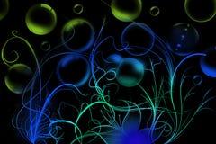 Flores e bolhas de sabão curvadas Imagem de Stock Royalty Free