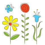 Flores e borboleta Imagem de Stock Royalty Free