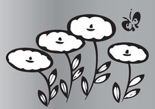 Flores e borboleta artísticas Fotografia de Stock Royalty Free