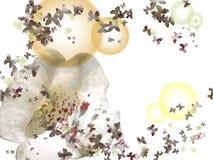 Flores e borboletas Fotografia de Stock