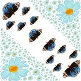 Flores e borboletas abstratas. ilustração do vetor