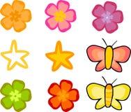 Flores e borboletas ajustadas Ilustração Royalty Free