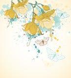 Flores e borboletas amarelas Imagens de Stock Royalty Free