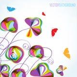 Flores e borboletas coloridas do verão Fotos de Stock Royalty Free