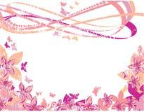 Flores e borboletas cor-de-rosa Foto de Stock Royalty Free