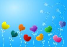 Flores e borboletas costuradas do coração Fotos de Stock Royalty Free
