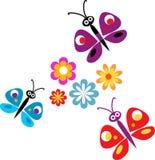 Flores e borboletas da primavera Fotos de Stock Royalty Free