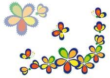 Flores e borboletas decorativas Ilustração do Vetor