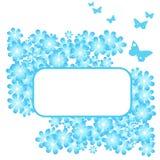 Flores e borboletas do azul de turquesa Imagens de Stock Royalty Free