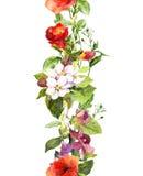 Flores e borboletas do prado do verão Repetindo o quadro watercolor ilustração stock