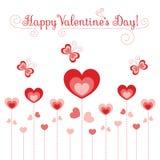 Flores e borboletas dos corações Imagem de Stock