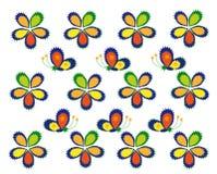Flores e borboletas estilizados Multi-colored Ilustração do Vetor