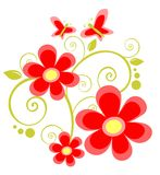 Flores e borboletas vermelhas Imagem de Stock