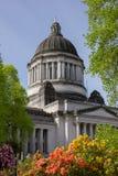Flores e bordadura Washington State Capitol do céu azul imagem de stock