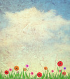 Flores e céu no fundo de papel fotografia de stock