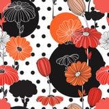 Flores e círculos Uma combinação de geometria e de elementos da garatuja imagens de stock
