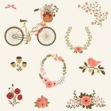 Flores e clipart do vetor da bicicleta Imagem de Stock