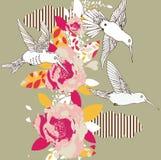 Flores e colibris Imagens de Stock Royalty Free