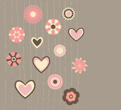 Flores e corações abstratos ilustração stock