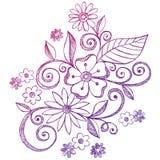 Flores e Doodles esboçado do caderno dos redemoinhos ilustração do vetor