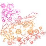 Flores e Doodles esboçado do caderno do pássaro Foto de Stock