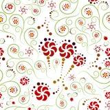 Flores e espirais no teste padrão sem emenda Imagens de Stock Royalty Free