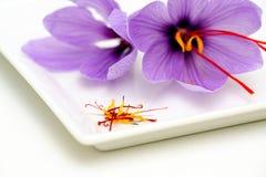 Flores e estames do aç6frão Imagens de Stock