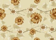 Flores e folhas bonitas no teste padrão dos ramos ilustração stock