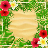 Flores e folhas de palmeira havaianas no fundo arenoso ilustração do vetor