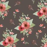 Flores e folhas sem emenda Imagem de Stock Royalty Free