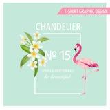 Flores e folhas tropicais Pássaro aquático do flamingo Imagem de Stock Royalty Free