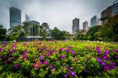 Flores e fonte em Hong Kong Zoological And Botanical Garde fotos de stock