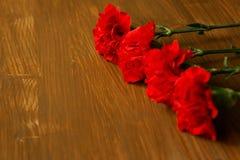 Flores e George Ribbon do cravo no fundo claro abstrato Dia da vitória - podem 9 Jubileu 70 anos Fotografia de Stock Royalty Free